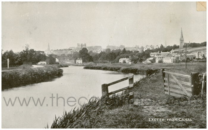 Postcard front: Exeter from Canal