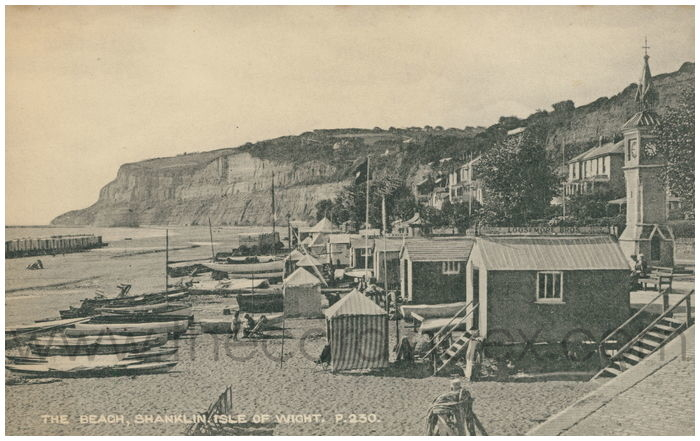 Postcard front: The Beach, Shanklin. Isle of Wight.