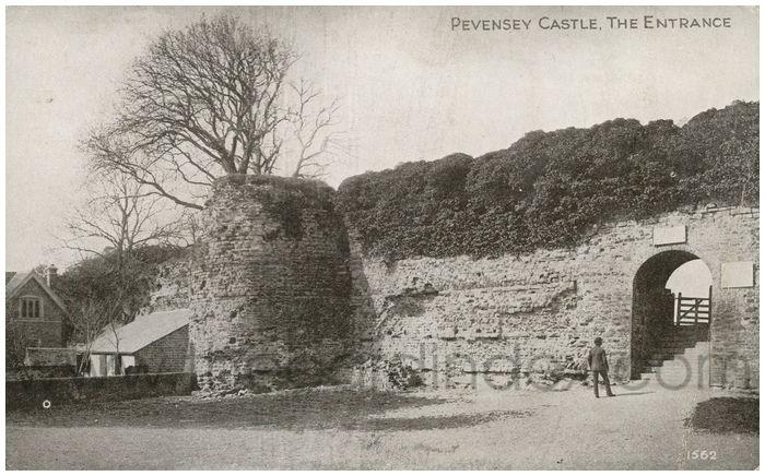 Postcard front: Pevensey Castle, the Entrance.