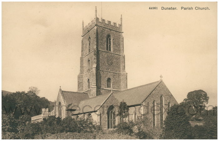 Postcard front: Dunster. Parish Church.