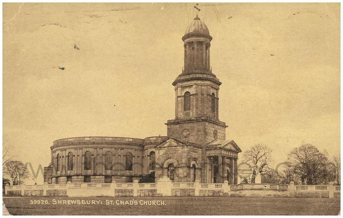 Postcard front: Shrewsbury: St. Chad's Church.
