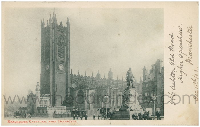 Postcard front: Manchester Cathedral from Deansgate