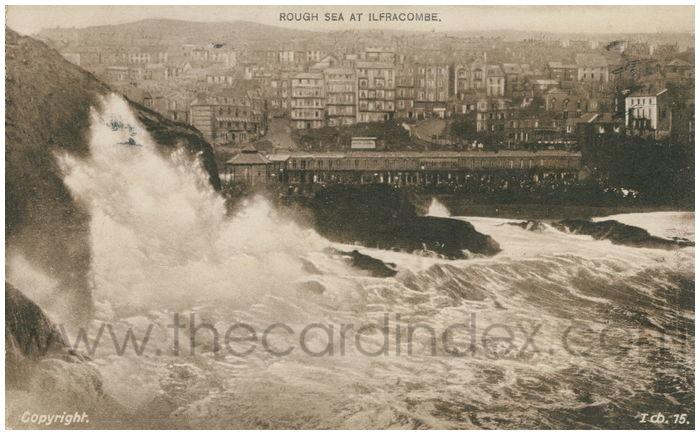 Postcard front: Rough Sea at Ifracombe.