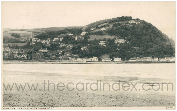 Postcard front: Minenhead. Bay from Bathing Beach