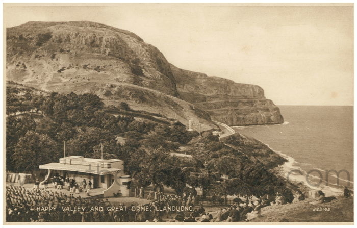 Postcard front: Happy Valley and Great Orme, Llandudno.