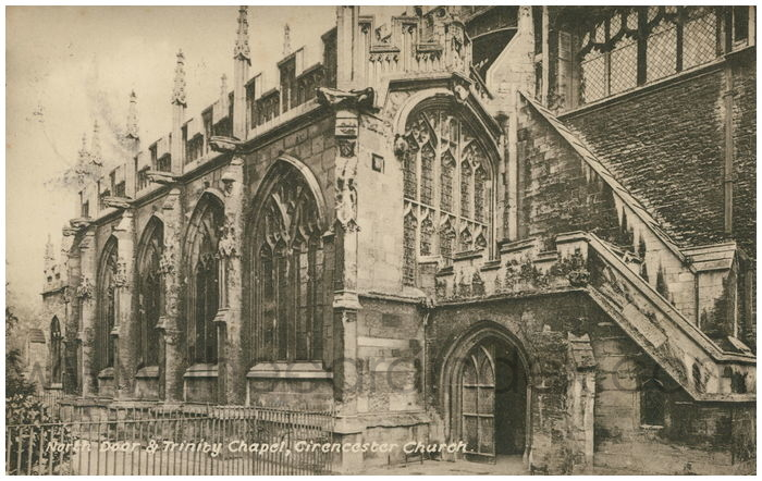 Postcard front: North Door & Trinity Chapel, Cirencester Church.