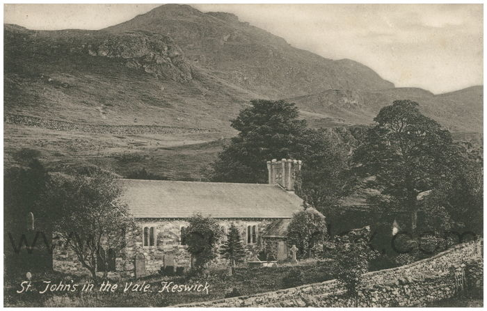 Postcard front: St. John's in the Vale, Keswick.