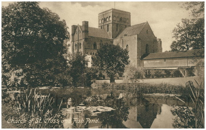 Postcard front: Church of St. Cross and Fish Pond.