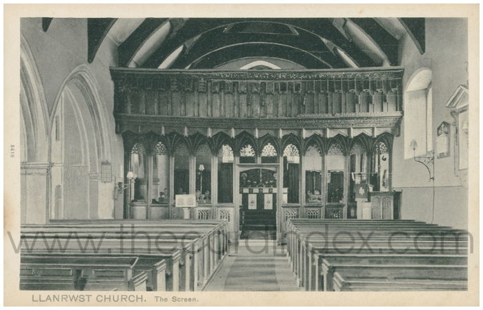 Postcard front: Llanrwst Church. The Screen