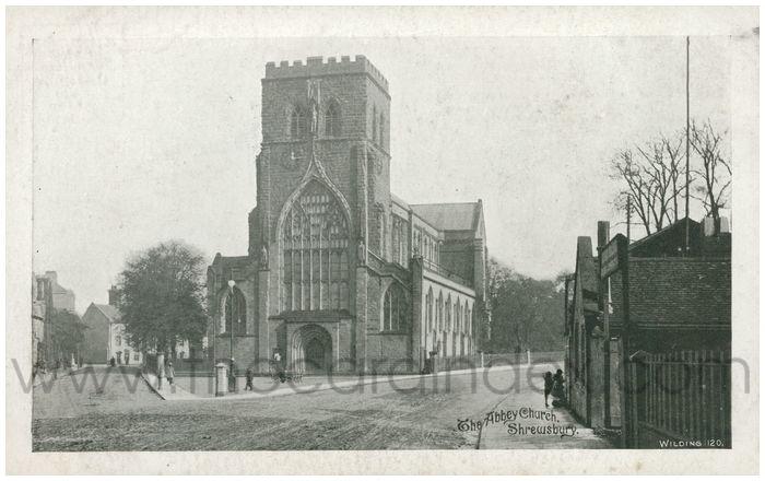 Postcard front: The Abbey Church, Shrewsbury