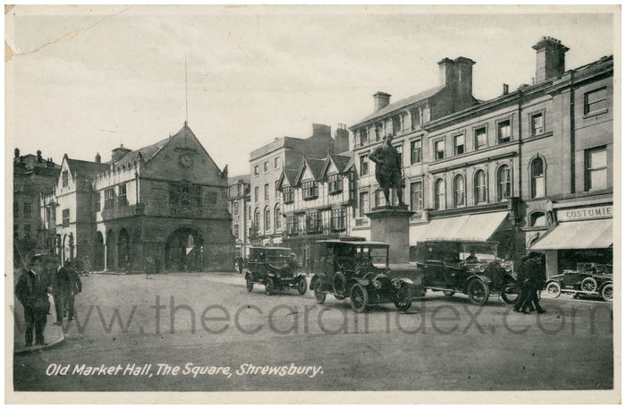 Postcard front: Old Market Hall, The Square, Shrewsbury