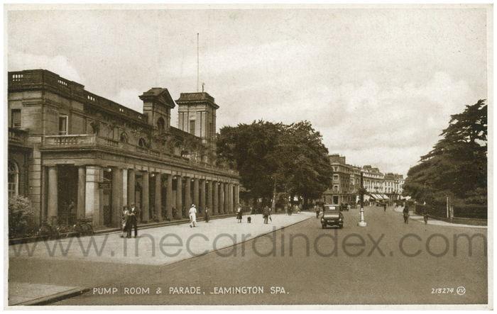 Postcard front: Pump Room & Parade, Leamington Spa.