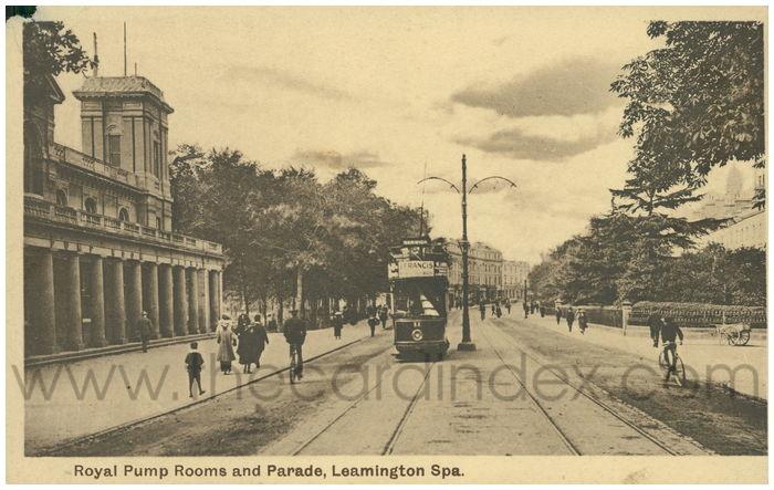 Postcard front: Royal Pump Rooms and Parade, Leamington Spa.