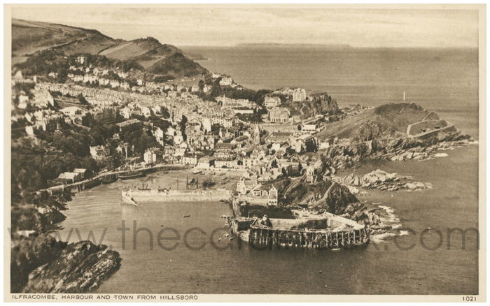Postcard front: Ilfracombe Harbour and Town from Hillsboro