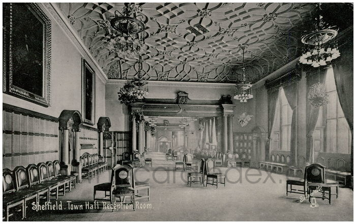 Postcard front: Sheffield. Town Hall Reception Room.