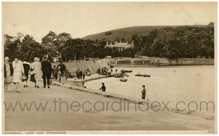 Postcard front: Clevedon. Lake and Promenade.