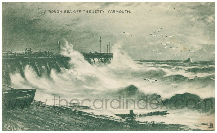 Postcard front: A Rough Sea off the Jetty, Yarmouth.