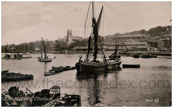 Postcard front: The Medway, Chatham.