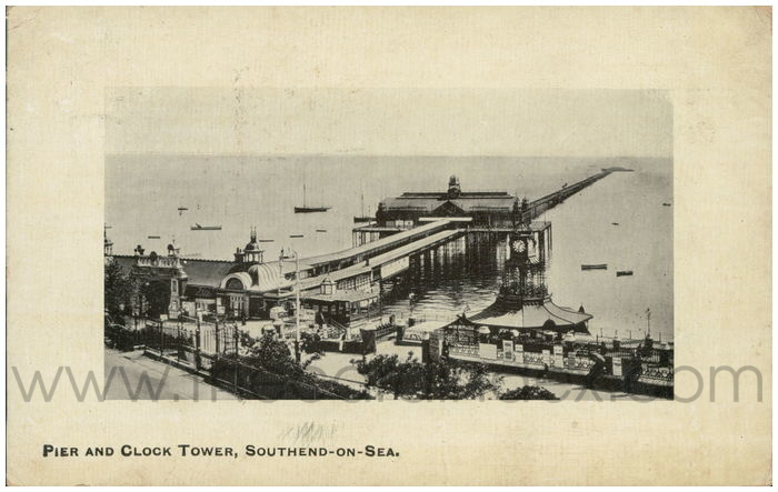 Postcard front: Pier and Clock Tower, Southend-on-Sea.