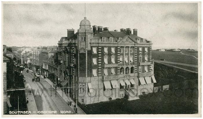 Postcard front: Southsea - Osborne Road.