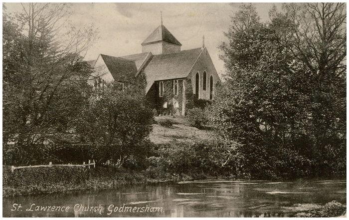 Postcard front: St. Lawrence Church. Godmersham.