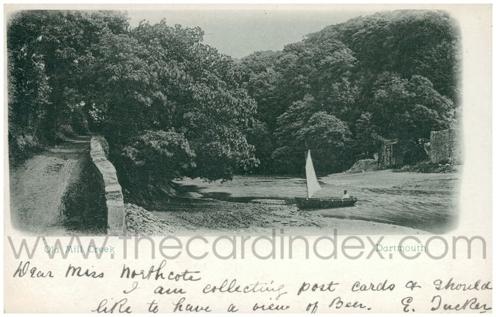 Postcard front: Old Mill Creek. Dartmouth