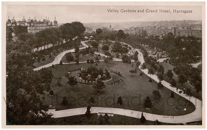 Postcard front: Valley Gardens and Grand Hotel, Harrogate.