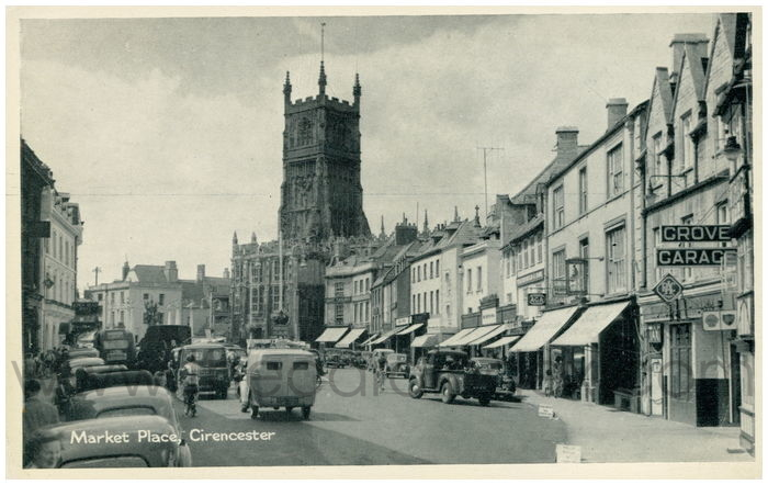 Postcard front: Market Place, Cirencester.