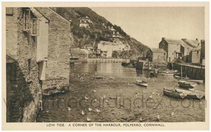 Postcard front: Low Tide. A Corner of the Harbour, Polperro, Cornwall.