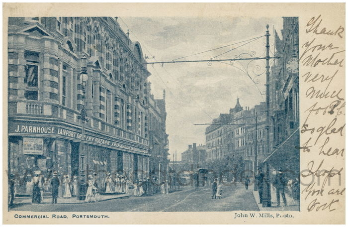 Postcard front: Commercial Road, Portsmouth.