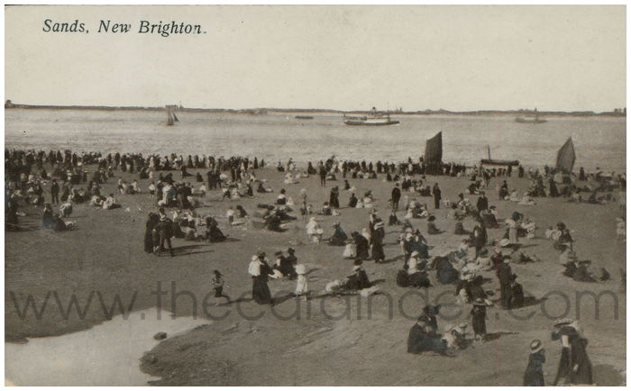 Postcard front: Sands, New Brighton.