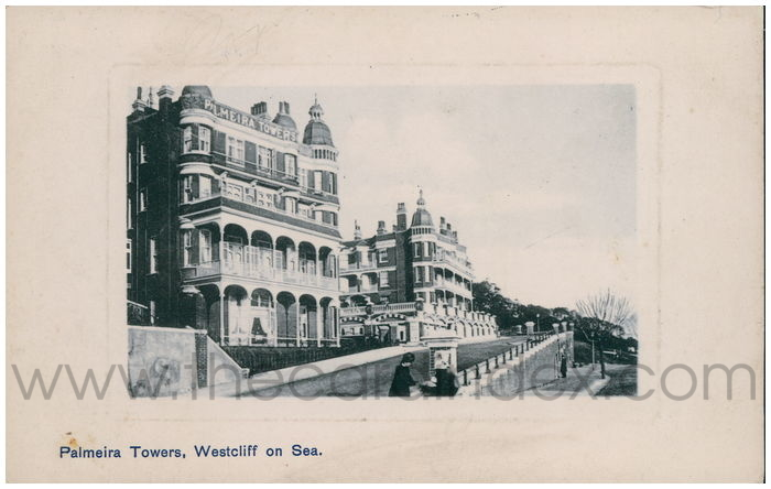 Postcard front: Palmeira Towers, Westcliff on Sea.
