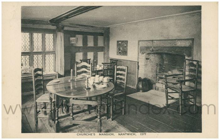 Postcard front: Churche's Mansion, Nantwich. 1577