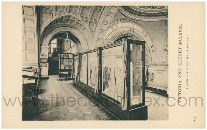 Postcard front: Victoria and Albert Museum. A Room in the Textile Collection.