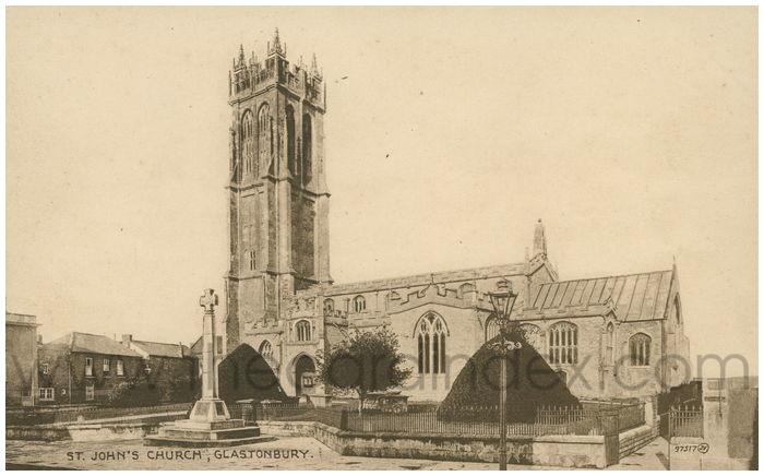 Postcard front: St. John's Church, Glastonbury.