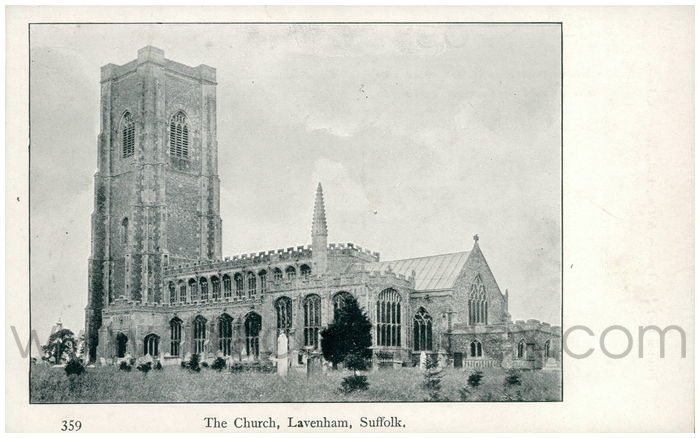 Postcard front: The Church, Lavenham, Suffolk.