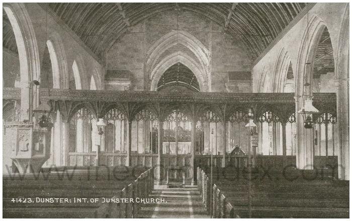 Postcard front: Dunster: Int. of Dunster Church.