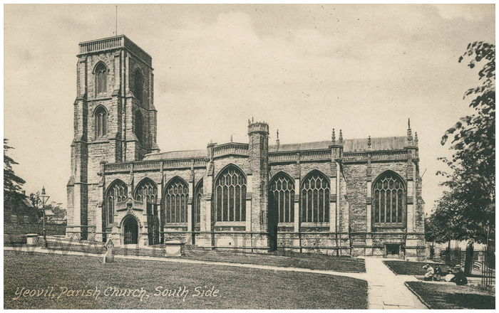 Postcard front: Yeovil, Parish Church, South Side.
