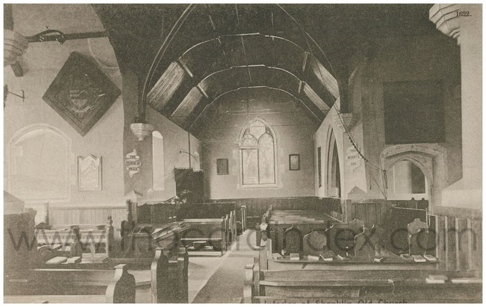 Postcard front: Interior of Shanklin Old Church