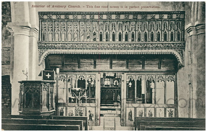 Postcard front: Interior of Avebury Church. This fine rood screen is in perfect preservation.