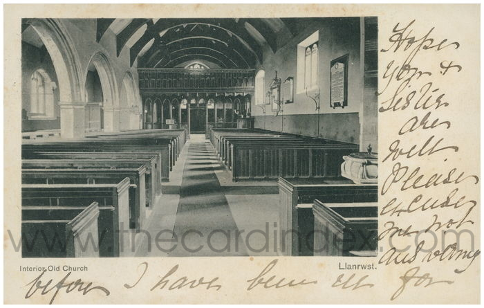 Postcard front: Interior Old Church. Llanrwst.