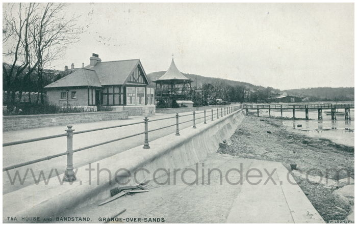 Postcard front: Tea House and Bandstand, Grange-over-Sands