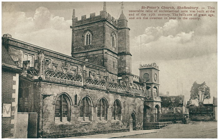 Postcard front: St. Peter's Church, Shaftesbury