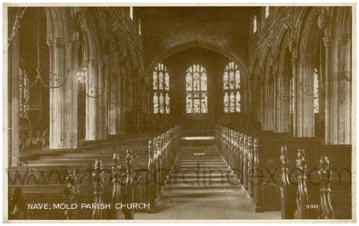 Postcard front: Nave, Mold Parish Church