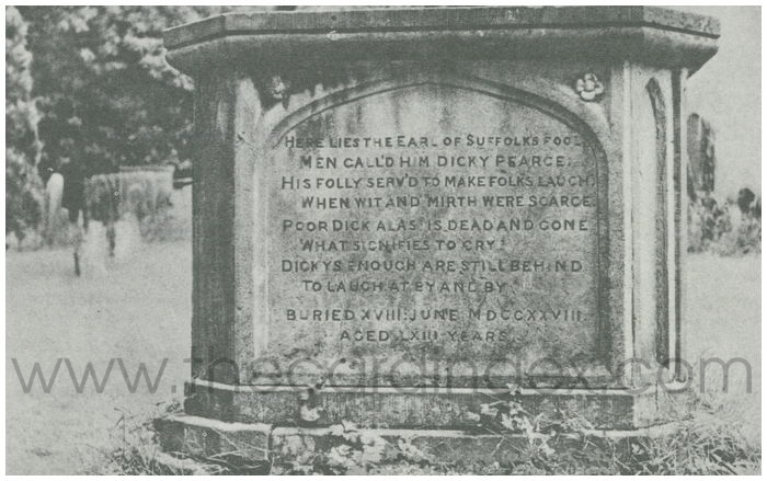Postcard front: The Tomb of the Last Private Jester, Berkeley Churchyard.
