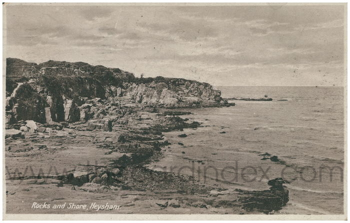 Postcard front: Rocks and Shore, Heysham