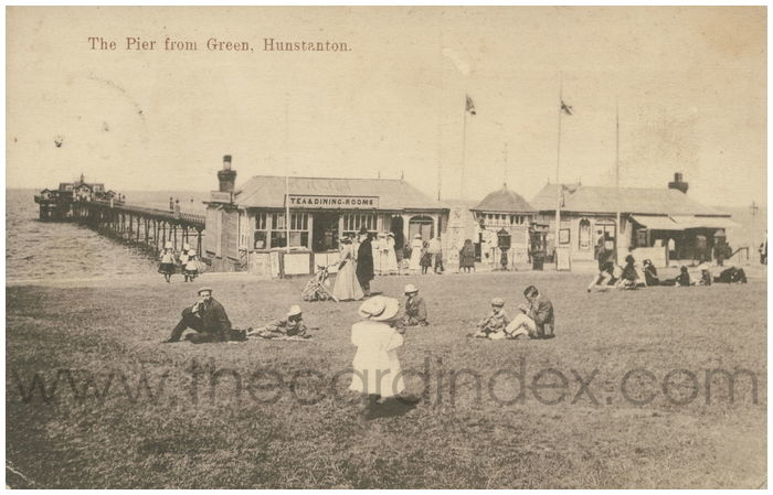 Postcard front: The Pier from Green, Hunstanton.