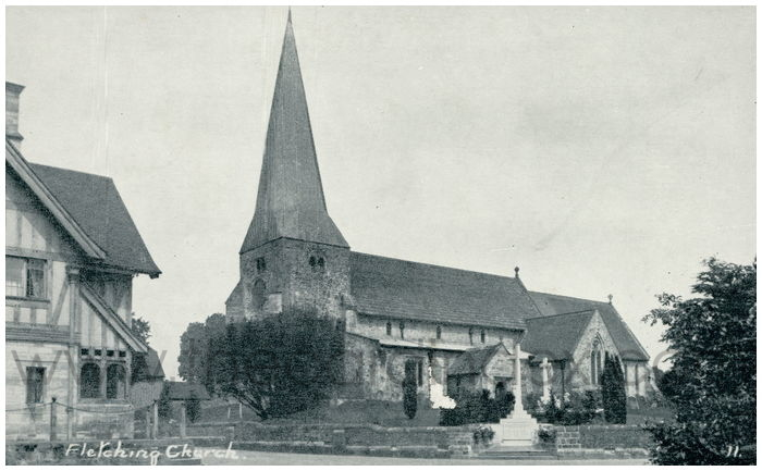 Postcard front: Fletching Church