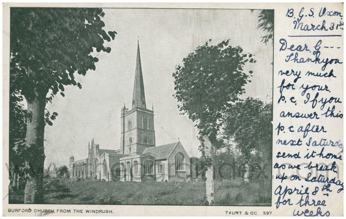 Postcard front: Burford Church from The Windrush