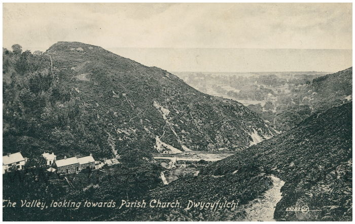 Postcard front: The Valley, looking towards Parish Church, Dwygyflchi